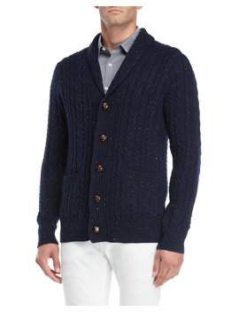 Navy Speckled Shawl Collar Cardigan by Barque