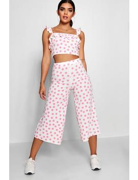 Spot Ruffle Detail Top & Culotte Co Ord by Boohoo