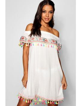 Embroidered Off Shoulder Beach Dress by Boohoo