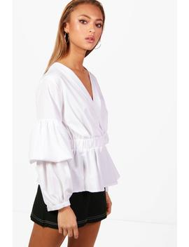 rouched-sleeve-shirt by boohoo