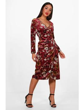 Floral Velvet Wrap Midi Dress by Boohoo