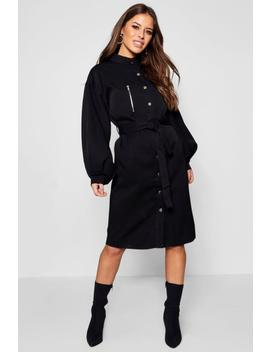 Petite Volume Sleeve Utility Trench Coat by Boohoo