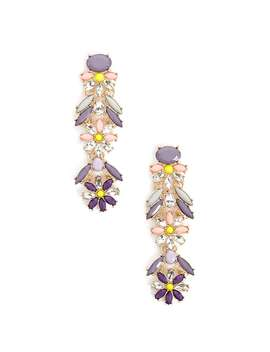 Bejeweled Flower Drop Earrings by Forever 21