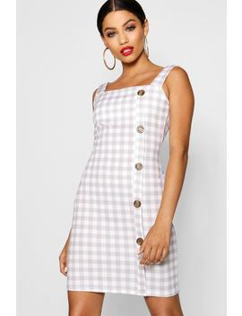 square-neck-mock-horn-button-check-shift-dress by boohoo