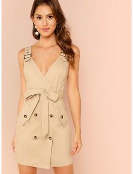 Adjustable Strap Pocket Side Belted Dress by Shein