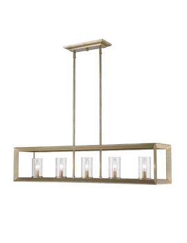 Golden Lighting Smyth White Gold 5 Light Linear Pendant With Clear Glass by Golden Lighting