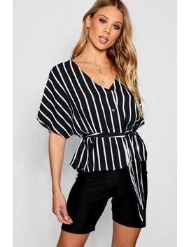 Nellie Stripe Button Through Tie Waist Blouse by Boohoo