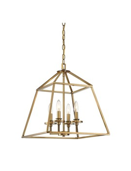 Braxton 4 Light Pendant Warm Brass by Savoy House