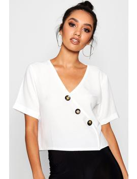 petite-button-front-short-sleeve-blouse by boohoo