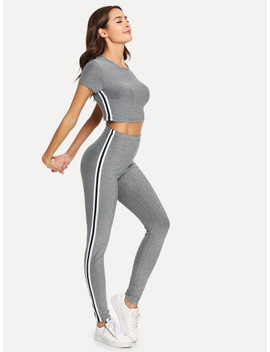 Contrast Striped Side Glitter Crop Top And Pants Set by Shein