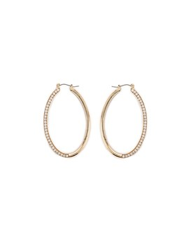 Rhinestone Oval Hoop Earrings by Forever 21