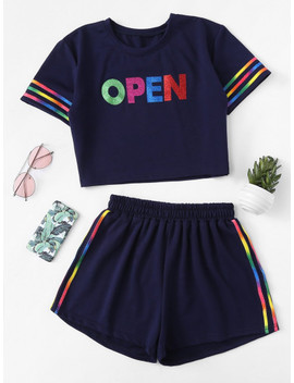 Glitter Letter Front Striped Crop Top & Shorts Set by Shein