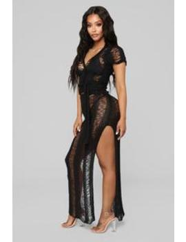 Intimate Waters Coverup   Black by Fashion Nova