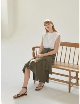 Cotton A Line Wrap Skirt [Ka] by Nilby P