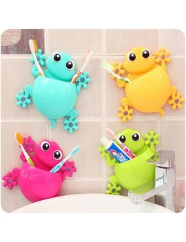 Cartoon Sucker Gecko Toothbrush Holder Wall Suction Hook Tooth Brush Holder Home Decor For Kids Bathroom Accessories by Gougu