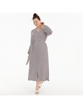 Universal Standard For J.Crew Jersey Long Sleeve Maxi Dress In Stripe by J.Crew