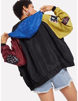 Raglan Sleeve Color Block Jacket by Sheinside