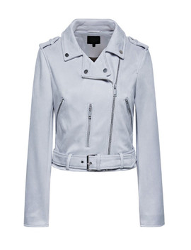 Solid Belted Biker Jacket by Sheinside