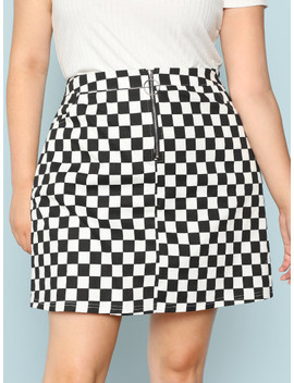 Plus O Ring Zip Fly Checkered Skirt by Shein