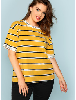 Plus Letter Tape Striped Tee by Shein