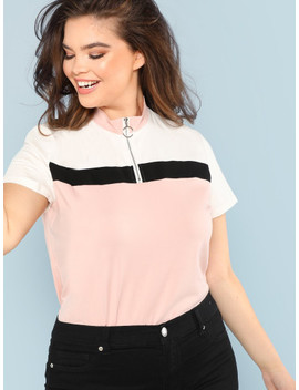 Plus O Ring Zip Half Placket Colorblock Tee by Shein