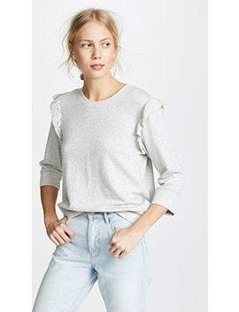 3/4 Sleeve Ruffle Pullover by David Lerner
