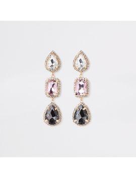 Gold Tone Rhinestone Jewel Drop Earrings by River Island