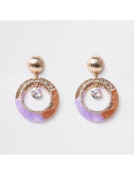 Purple Glitter Rhinestone Drop Earrings by River Island