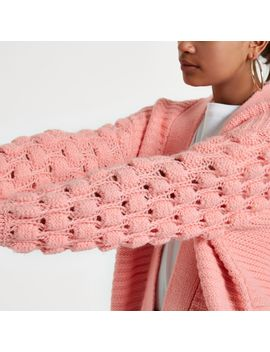 Light Pink Bobble Heart Knit Cardigan by River Island