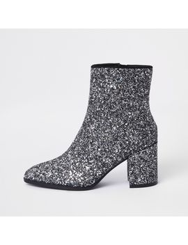 Silver Glitter Block Heel Ankle Boots by River Island