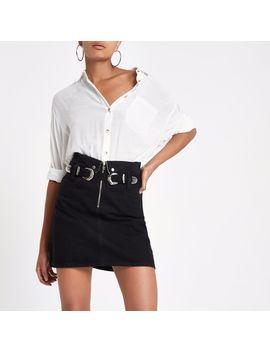 Black Zip Front Mini Denim Skirt by River Island