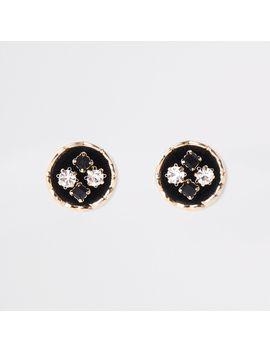 Black Velvet Embellished Circle Stud Earrings by River Island