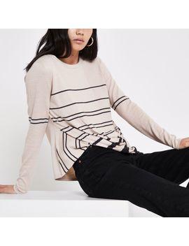 Beige Knit Stripe Twist Front Sweater by River Island