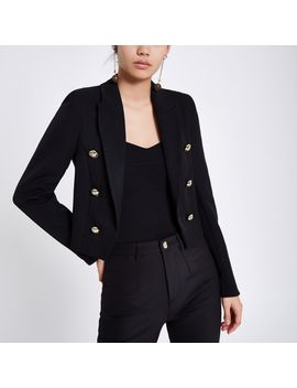 Black Double Breasted Crop Tux Blazer by River Island