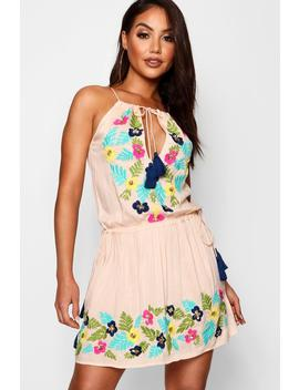 Floral Sequin Tassel Tie Beach Dress by Boohoo