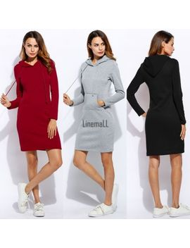 women-casual-dress-long-sleeve-hoodie-hooded-jumper-pockets-sweater-tops-lm by unbranded