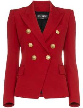 Red Double Breasted Virgin Wool Blazer by Balmain
