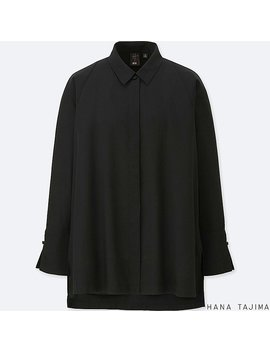 Women Hpj Tencel Flyfront Long Sleeve Tunic by Uniqlo