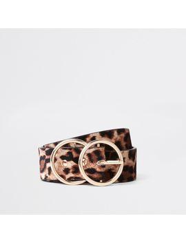 Beige Leopard Print Double Ring Belt by River Island