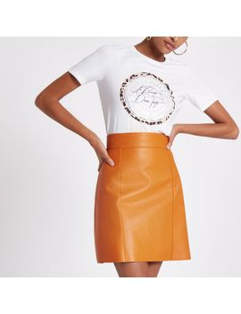Orange Faux Leather Mini Skirt by River Island