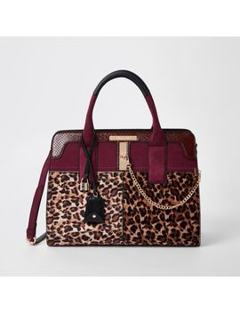 Dark Red Leopard Print Tote Bag by River Island