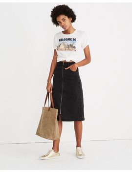 Denim Zip Midi Skirt In Lunar Wash by Madewell