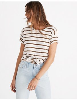 Whisper Cotton Knot Front Tee In Myers Stripe by Madewell