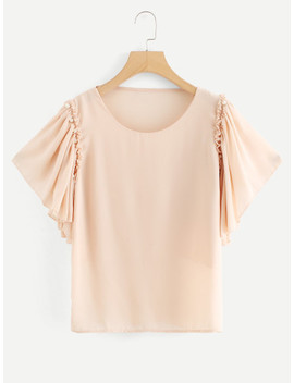 Pearl Beaded Detail Butterfly Sleeve Blouse by Sheinside