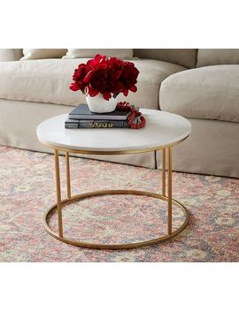 Delaney Round Coffee Table, White Marble by Pottery Barn
