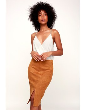 Total Allure Camel Suede Pencil Skirt by Lulu's