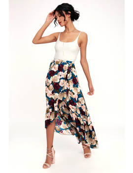 Adriana Blue Floral Print Ruffle High Low Skirt by Lulu's