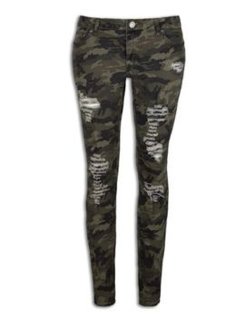 New Women Ripped Stone Slim Fit Jeans Camo Distressed Pants Include Plus Size by Trending Apparel