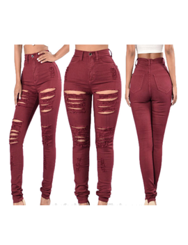 Womens Wine Red Destroyed Ripped Distressed Slim Denim Jeans Pants *New* by Unbranded