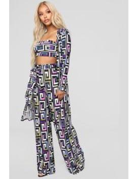 Disco Party 3 Piece Set   Purple Multi by Fashion Nova